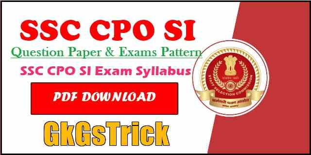 SSC CPO SI Previous Year Paper and Exam Pattern 2021 in Hindi